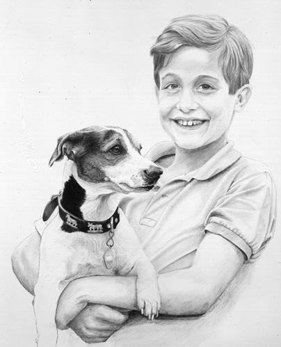 Dibujos A Lapiz Retratos De Ninos Y Perros Con Mina De Plomo